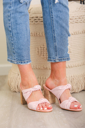 Honey Bee Striped Heeled Sandal - Pink