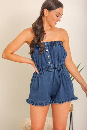 Step It Up Sleeveless Denim Romper