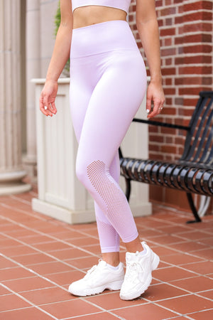 Running the Block Perforated Leggings - Lavender