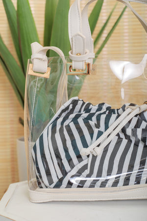 See Right Through Me Pinstripe Clear Satchel