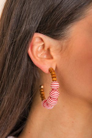 Pool Party Beaded Hoop Earrings - Red