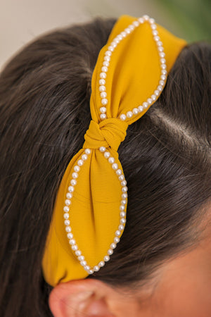 Ocean Treasure Pearl Bow Headband - Mustard