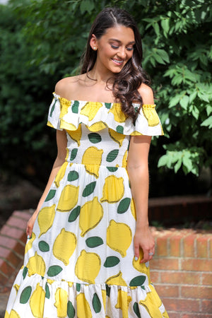 Lemonade Stand Off Shoulder Midi Dress