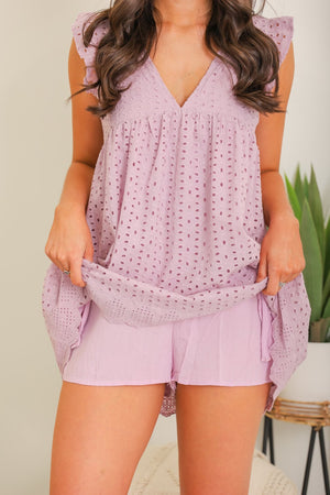 More Than Meets the Eye Eyelet Romper - Purple