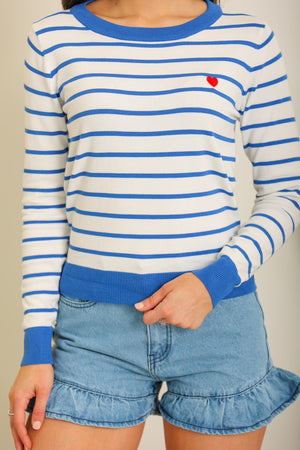 Heart on My Sleeve Striped Knit Sweater