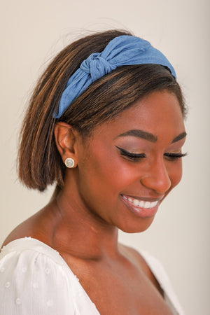 Topped With a Bow Denim Bow Headband