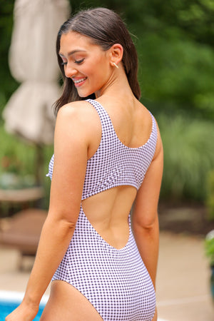 Summer Fun Tie Front Gingham One Piece