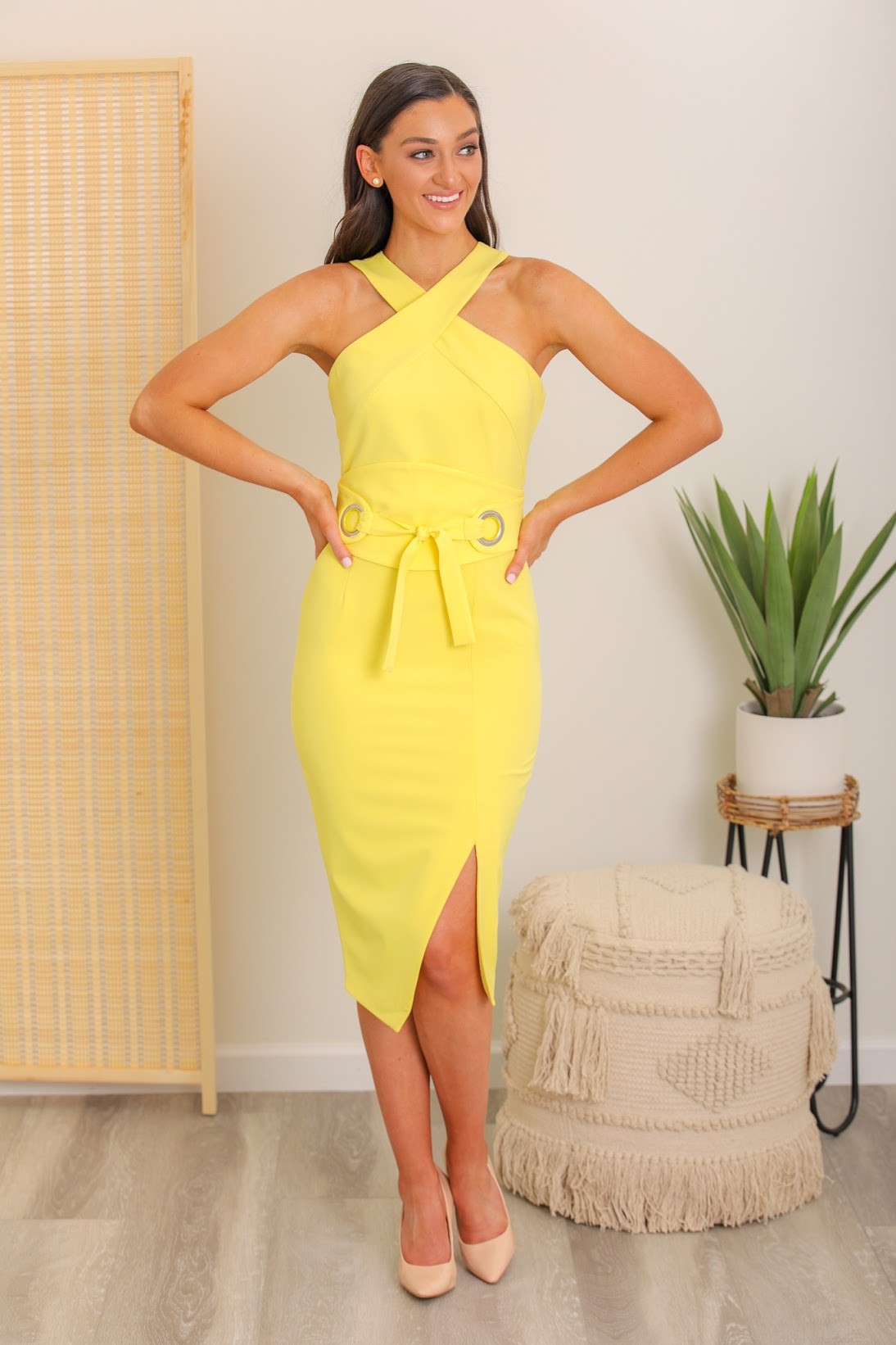 Eva Belted Halter Midi Dress