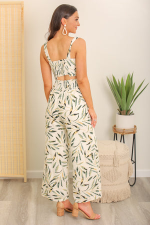 Wind Through the Trees Leaf Print Smocked Pants