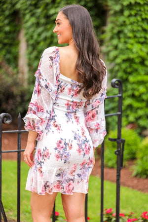 Gail Balloon Sleeve Floral Mini Dress