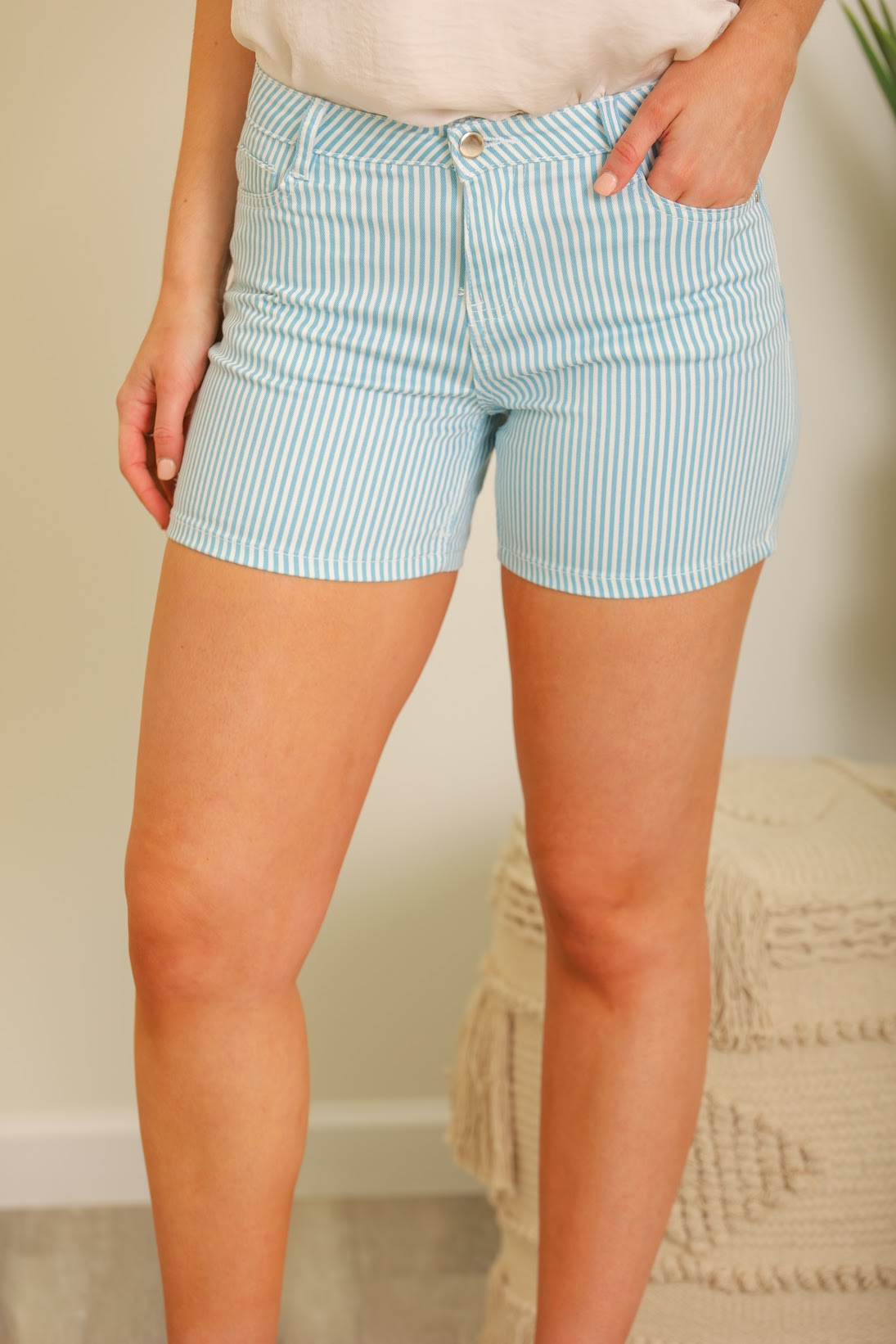 Heart Racing Striped Shorts - Blue