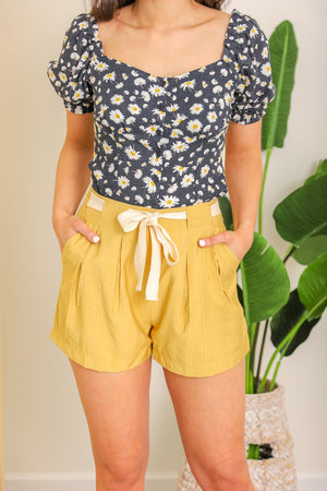 Get Outta Town Belted Shorts - Yellow