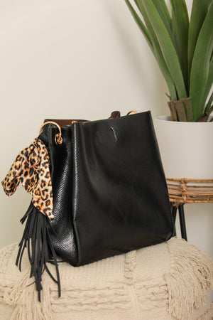 Wild at Heart Leopard Scarf Accent Hobo Bag - Black