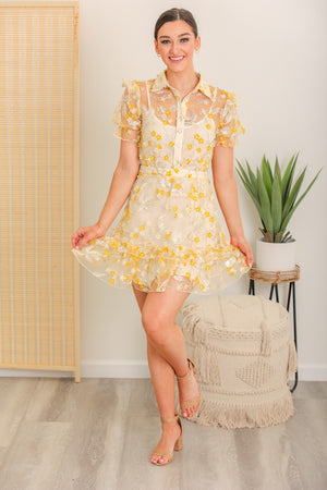 Full Bloom Floral Button Down Dress