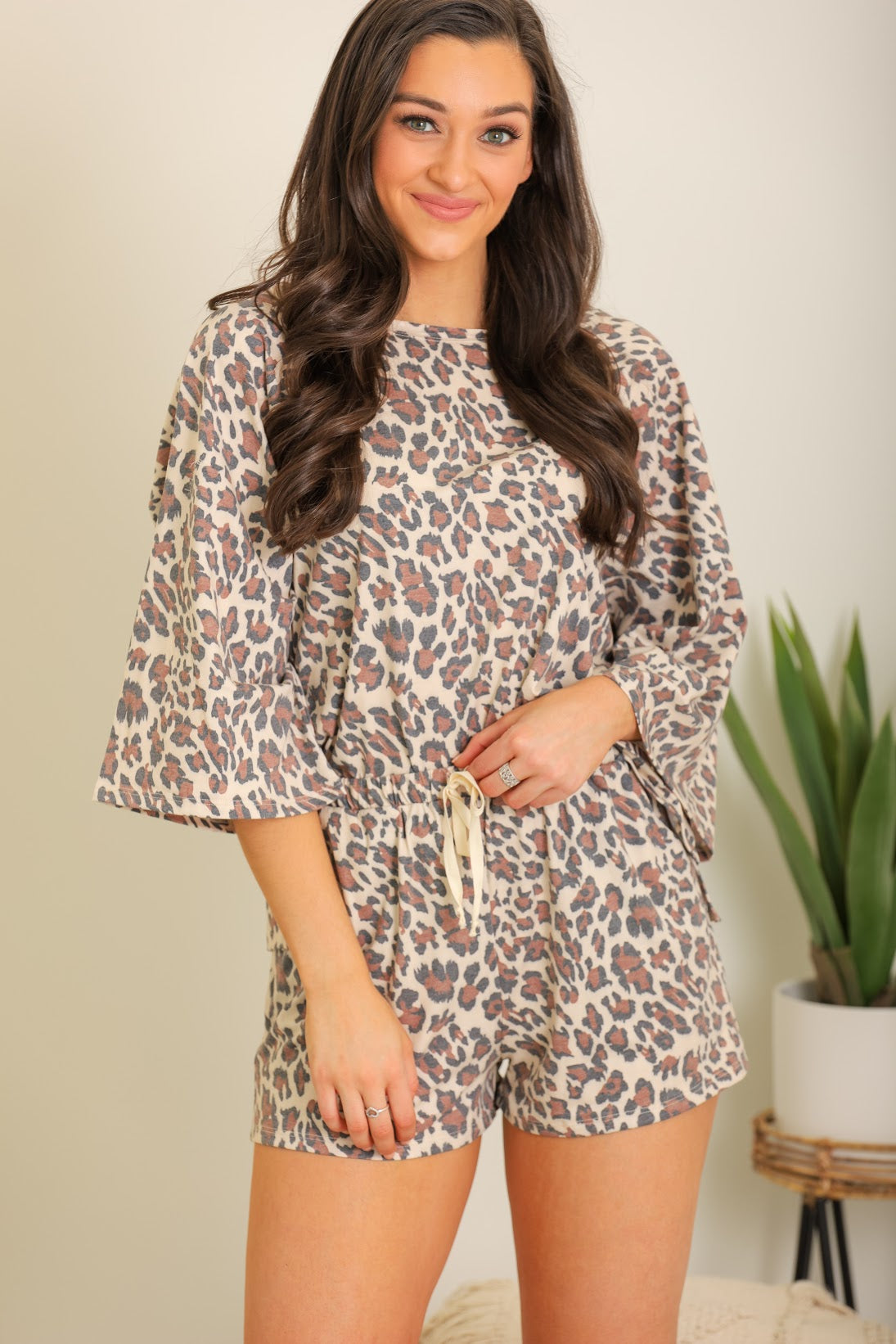 One Cool Cat Leopard Print Loungewear Set