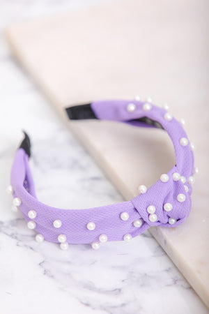 Turn Some Heads Mesh Pearl Headband - Purple