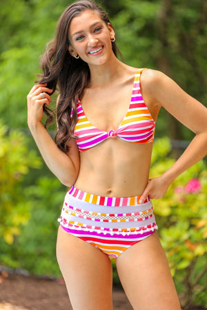 Hawaiian Sunset Pom Pom Striped Bikini Bottom