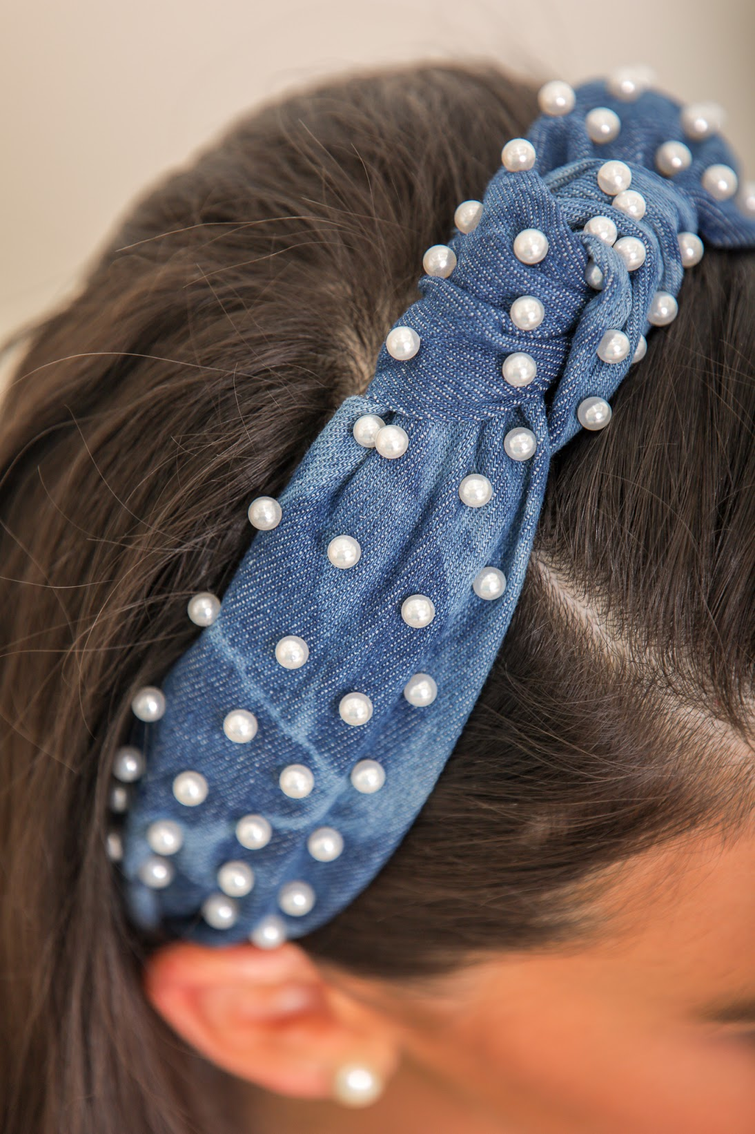 Ready For Anything Pearl Denim Top Knot Headband