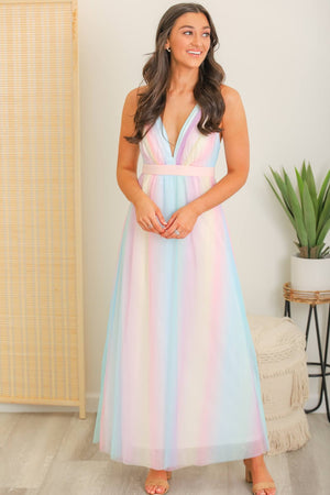 Royal Treatment Rainbow Maxi Dress