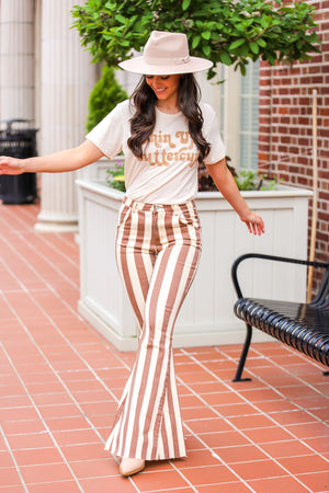 Shake Your Groove Thing Striped Bell Bottoms - Camel