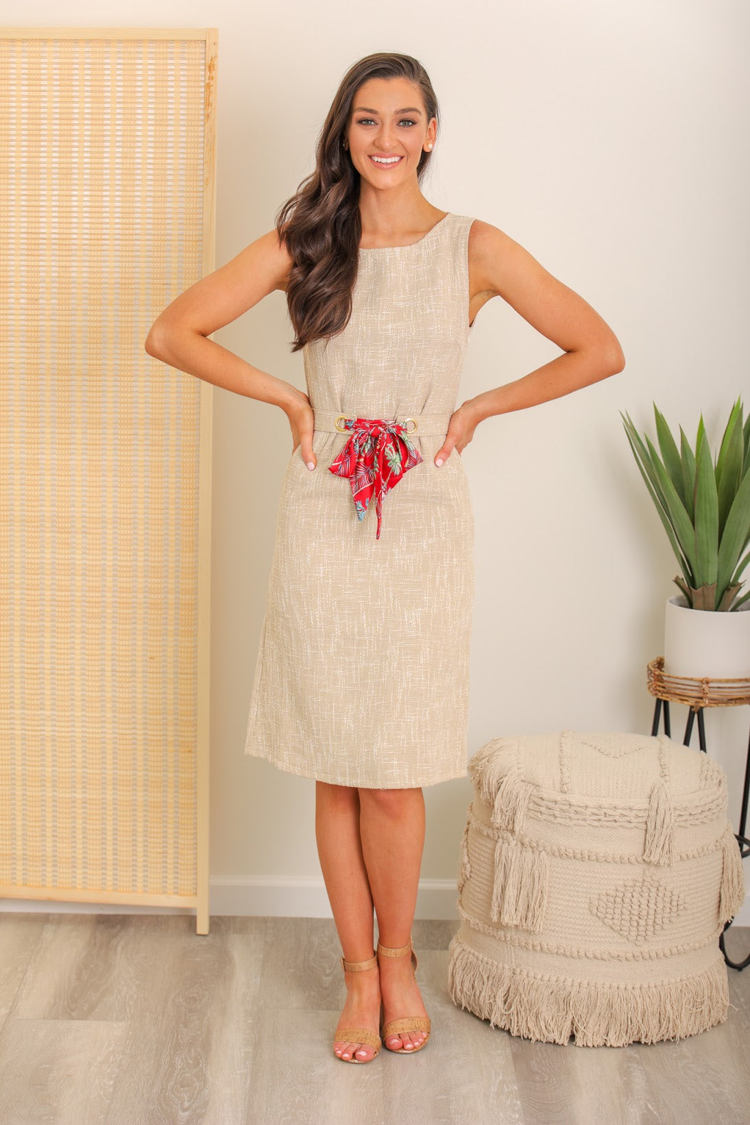 Dream Vacation Scarf Tie Waist Dress