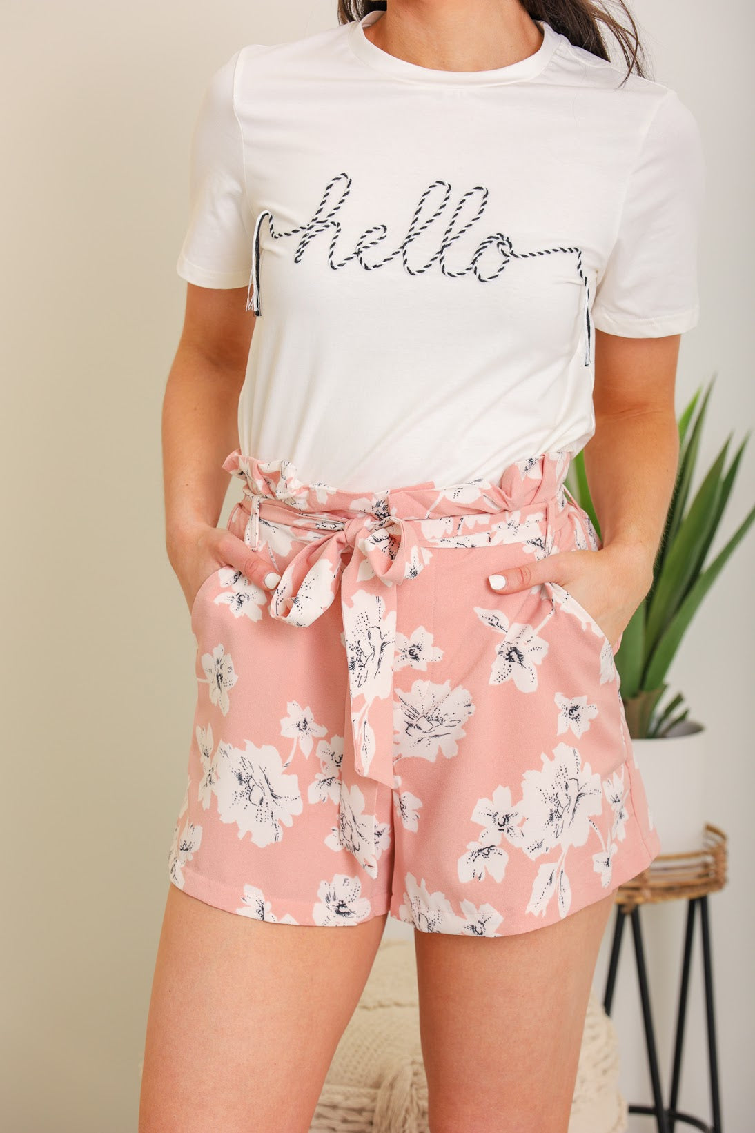 Visions of the Bahamas Paperbag Shorts - Pink Floral