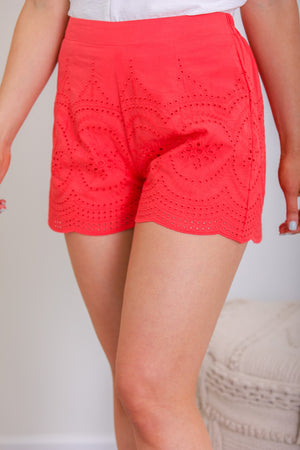 Ruby Red Eyelet Shorts