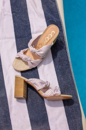 Honey Bee Striped Heeled Sandal - Beige