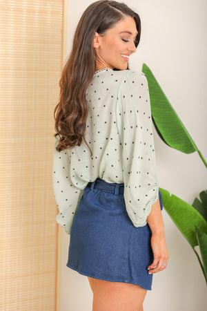 Innocent Daydreams Balloon Sleeve Blouse - Mint