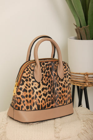 Queen of the Jungle Leopard Dome Purse - Tan