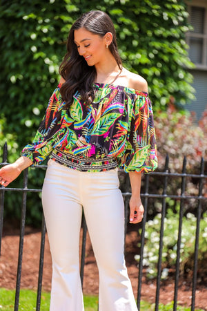 Away From It All Palm Print Off Shoulder Top