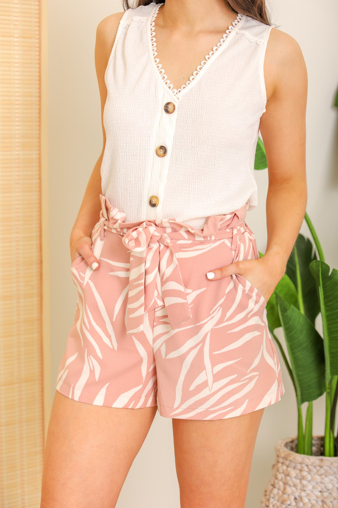 Visions of the Bahamas Paperbag Shorts - Pink Palm