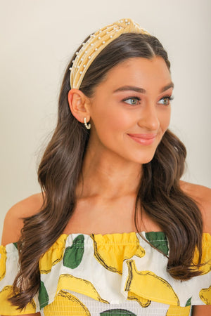 Soft to the Touch Velvet Pearl Headband - Yellow