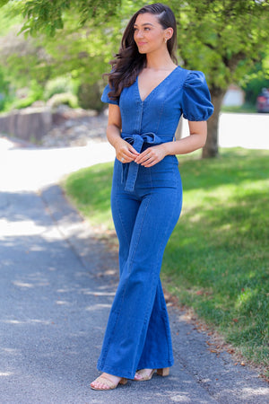 Stand Strong Puff Sleeve Denim Jumpsuit