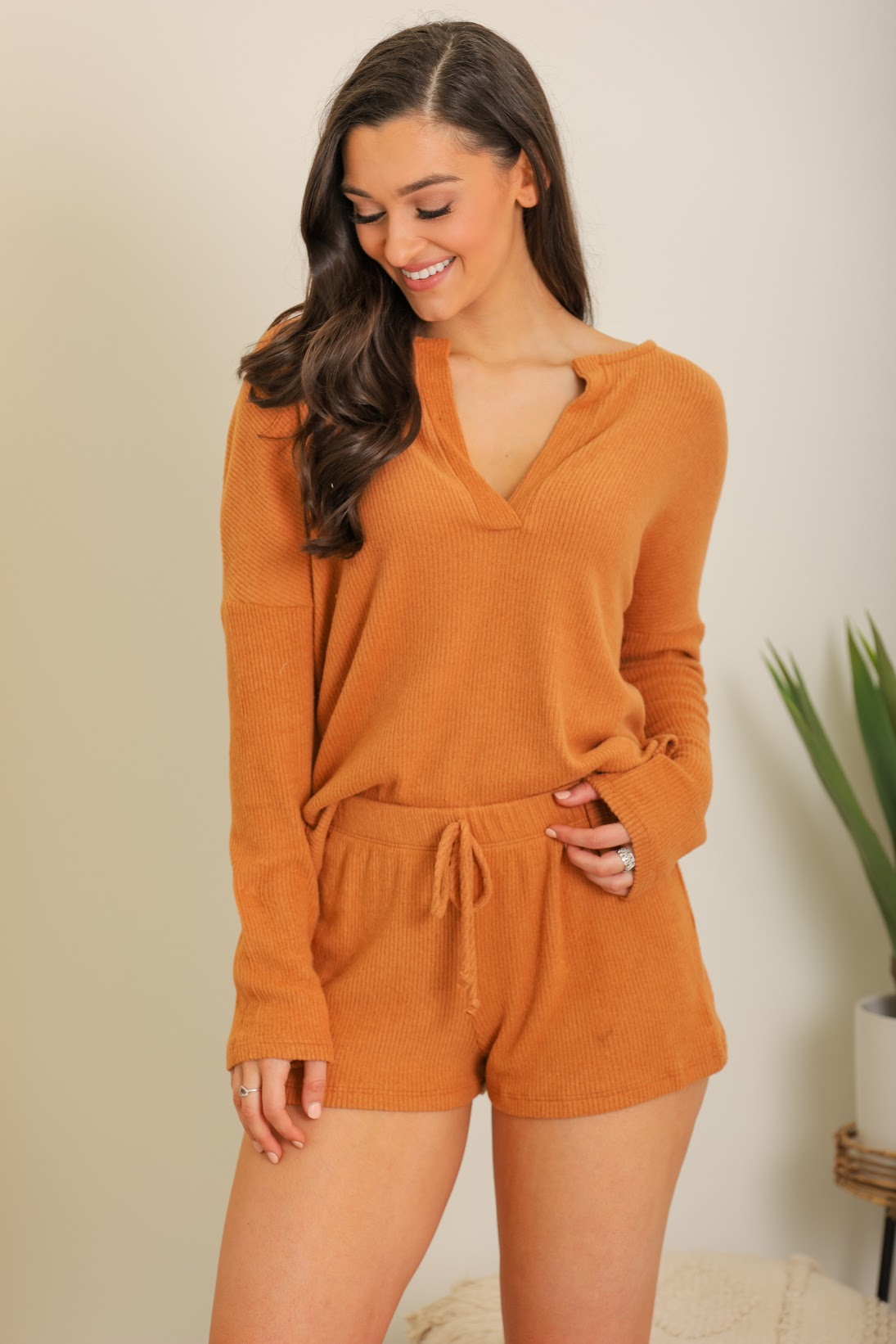 Put Your Feet Up Ribbed Loungewear Set - Rust