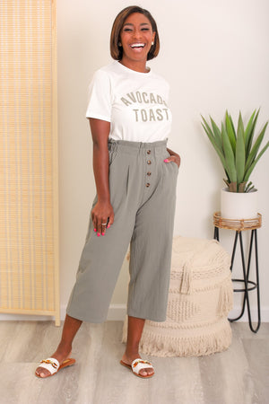 Olive You Too Paperbag Waist Wide Leg Cropped Pant