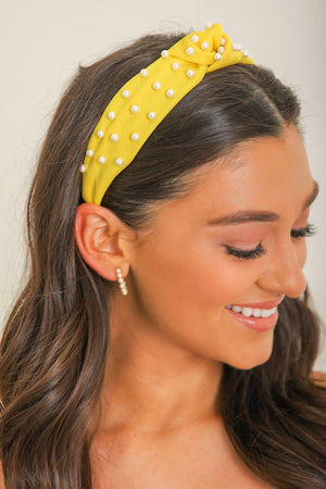 Turn Some Heads Mesh Pearl Headband - Yellow
