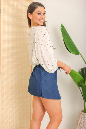 Delicate Delight Denim Wrap Skirt