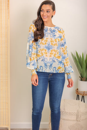 Vintage Chic Mirrored Print Blouse