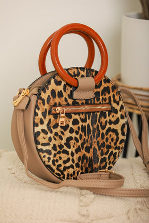 Can't Be Tamed Leopard Circle Bag - Tan