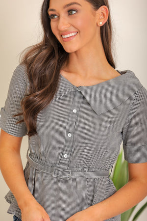Picnic Perfect Gingham Collared Belted Blouse