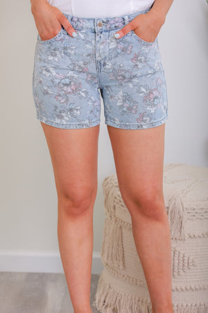 Stop and Smell the Flowers Floral Print Denim Shorts