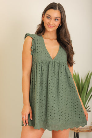 More Than Meets the Eye Eyelet Romper - Green