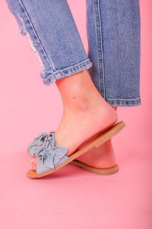 Desmond Denim Ruffle Slide - Shoes - Wight Elephant Boutique