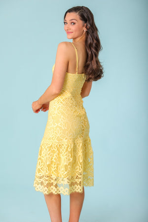 Lemonade with Sugar Cami Lace Midi Dress - Dresses - Wight Elephant Boutique