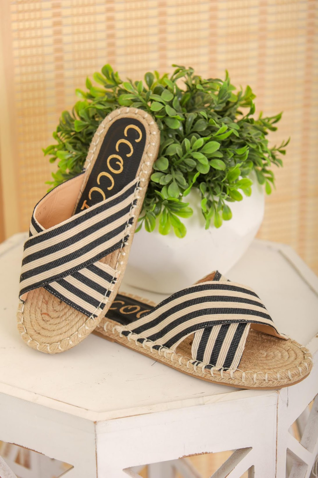 Ocean Black Striped Sandals