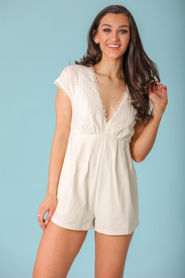 Innocent and Sweet Eyelet Lace Romper - Rompers - Wight Elephant Boutique