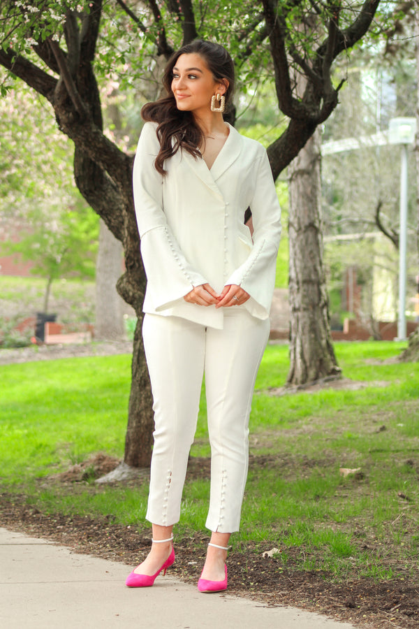 Odette White Trousers