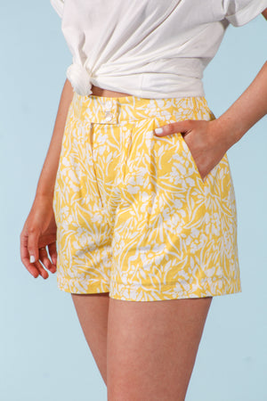 Daffodil In Bloom High-Waisted Floral Shorts - Shorts - Wight Elephant Boutique