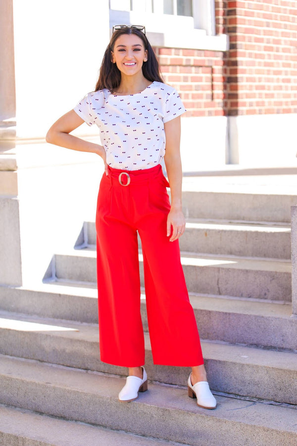 Heat It Up Red Belted Pants
